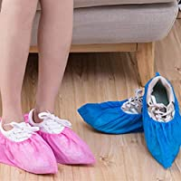 100 Thick Non-woven Wholesale Disposable Shoes Cover Shoe Sheaths With Overshoes Breathable Anti-skid Shoe Sheaths Men Women Useful (Color : Blue)