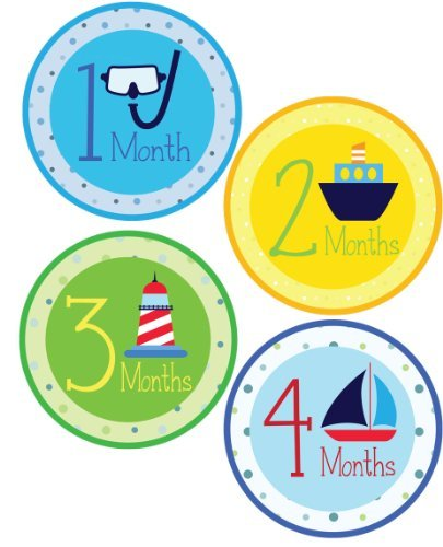 Props 12 Inc (Monthly Onesie Sticker - Nautical Theme - Waterproof and Durable - Includes 1-12 Month Bodysuit Stickers - Baby Photo Prop Stickers)