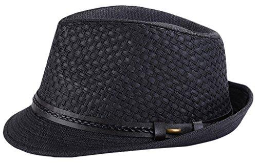 La Vogue-Uomo Donna Jazz Cappello Panama Paglia Berretto Intrecciato Nero