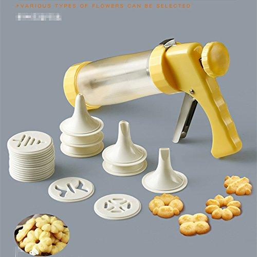 KeepingcooX Cookie Presse Icing Gun Set/ Zuckerguss Pistole Set für Kuchen Dekorieren, Handdruck, 6 Gebäckspritze, 16 Blumen Muster Keks Stempel (Cookie-presse)