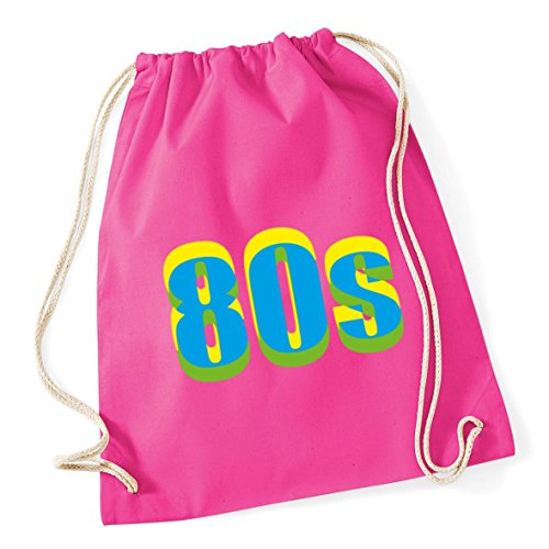 Neon 80s Drawstring Cotton Gym Kit Bag - choice of colours