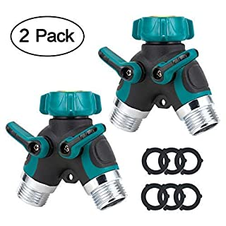 GLANICS Garden Hose Splitter 2 Way Y Dual Tap Connector with 6 Rubber Washers