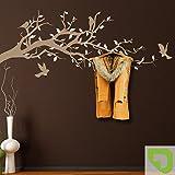 DESIGNSCAPE® Garderobe Ast mit Vögel und Blätter 120 x 52 cm (Breite x Höhe) Farbe 1: lindgrün inkl. 6 Edelstahl Wandhaken DW811004-M-F16