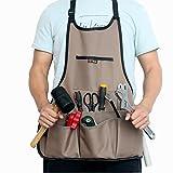 KINYOOO Delantal de trabajo profesional de lona encerada resistente con 14 bolsillos para herramientas (marrón), ajustable de M a XXL
