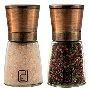 Premium Salt and Pepper Grinder Set - Best Copper Stainless Steel Mill for Home Chef, Handy Magnetic Lids, Smooth Ceramic Spice Grinders with Easy Adjustable Coarseness, Top Salt and Pepper Shakers by JCPKitchen