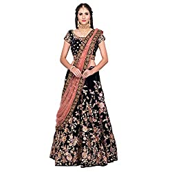 Fabron Navy Blue Floral Embroidered Lehenga Set