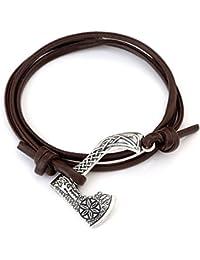 Wicca Religious Norse Viking Thor's Hammer Axe Animal Wolf Irish Knot Amulet Runes Symbol Bracelet