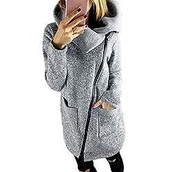 JURTEE Damen Winter Mäntel,Frauen Winterjacke Taschen Einfarbig Übergangsjacke Reißverschluss Kapuzenpullover Mit Kapuze Revers Sweatshirt Outwear(Medium,Grau)