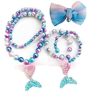 Chteng 01, Prinzessinnen-Schmuck, Meerjungfrauen-Halsketten, Armband und Haarspange, 3 Stück