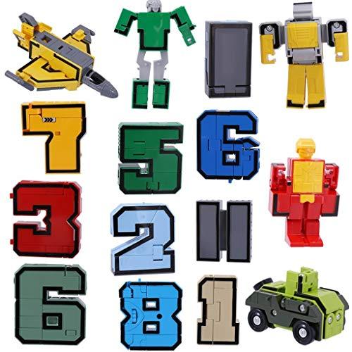 Jouet robot télécommandé électronique Numéros Armour Team Transform Robot Jouet for Kid Play Display Set de 15 Pcs Jouet robot télécommandé adapté aux enfants et jou
