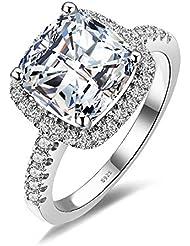 JewelryPalace 4.24ct Magnifique Bagues de Fiançaille Femme Alliance Mariage Anniversaire en Argent Sterling 925 en Zircone Cubique de Synthèse CZ