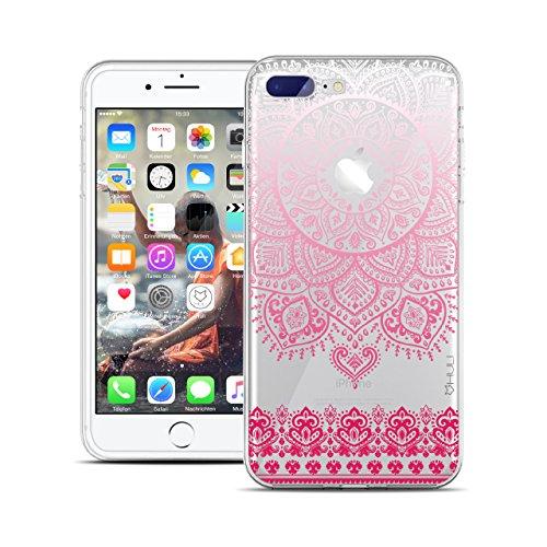 HULI Design Case Hülle für Apple iPhone 7 Plus Smartphone im Orientalischen Muster weiß/pink - Hülle aus TPU Silikon - Schutzhülle klar mit orientalischem Mandala Henna Ornament Traumfänger - Handy