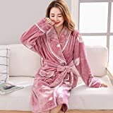 Bademäntel Coral Velvet Couple's Long Flannel Bathrobe for Men and Long Sleeve Bathrobe for Women In Winter,Female Zt7310,XL