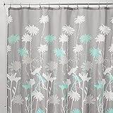 mDesign Duschvorhang mit Gänseblümchenmuster - ideales Badzubehör mit perfekten Maßen: 183 cm x 183 cm - langlebige Duschgardine - Farbe: grau / mint