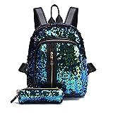 zycShang Sac à dos femmes-Sac de voyage-Double sac à bandoulière-Sacs portés épaule-Sac à bandoulière de sac à dos d'écolières de filles de mode + pochette d'embrayage (Bleu ciel)