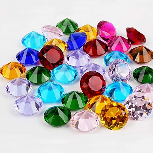 ToBeIT Acryl Diamanten bunt ca. 145 Stücke 20mm Diamantkristalle Transparent Kristall- Transparente Tischdeko Streudeko Hochzeit Deko(20mm Diamanten bunt)