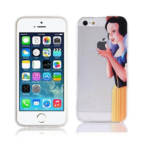 Fundas para iPhone 5 5S SE Blancanieves Carcasa Case Gel Transparente con diseño personalizado, Cover Silicona TPU iPhone 5 5S SE con Figura dibujos animados de Alta Resistencia y Flexibilidad kaser