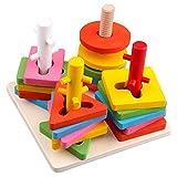 Hibote para niños Los primeros juguetes educativos de madera, Montessori geométricos juguetes de aprendizaje para niños de los niños