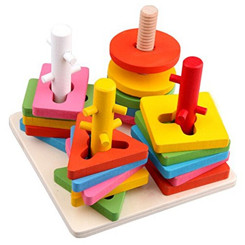 hibote Tablero de clasificación geométrico de colores y formas de madera - Stack & Sort Puzzle Toys for Child Toddlers