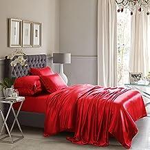 Rojo satinado seda Funda de edredón sábana conjunto doble tamaño 6pcs por LABELDUCK