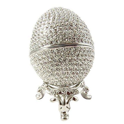 """Fabergé-Stil, silberfarben, russische Bejeweled Schmuckkästchen, mit Swarovski-Kristallen, 4,5 cm X 5,7 cm X 1,75 """"Geschenkbox"""