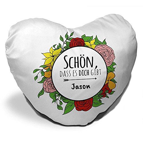 Herzkissen mit Namen Jason und schönem Spruch - Schön , dass es dich gibt - für Verliebte und Freunde zum Valentinstag   Herz-Kissen   Kuschel-Kissen   Schmuse-Kissen Jason Kranz