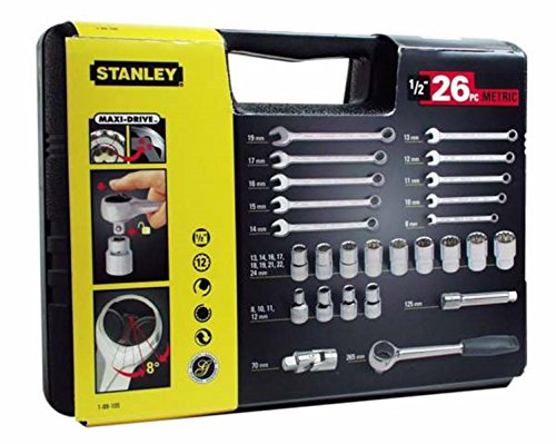 Stanley Steckschlüssel-Set (1/2 Zoll 26-teilig, Umschaltknarre mit Selbstauslösung, Maulschlüssel 8-19 mm) 1-89-105