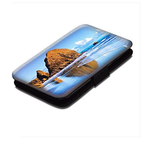 Paesaggi 113, Riva del Mare, Nero Portafoglio Magnetico Flip Custodia Protettiva in Pelle Wallet Case Cover Shell Borsa Copertura con Disegno Colorato per Samsung Galaxy S4 i9500