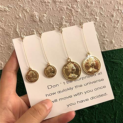 Chwewxi Koreanische Temperament Lange Gold münze Ohrringe schönheit Kopf mädchen Mode Ohrringe münze kalten Wind Ohrringe ohrclip, M116L große goldmünze Schraube ohrclip Paar