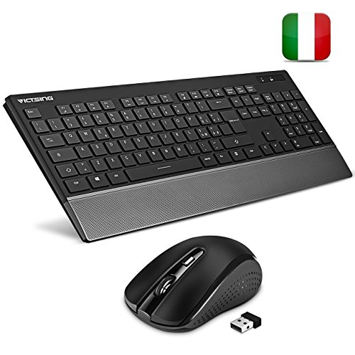 Victsing tastiera e mouse wireless tastiera wireless pc silenziosa kit tastiera mouse wireless design protezione del polso, mouse simmetrico 3 dpi, per laptop tablet windows xp/7/8/10/ mac ps4, xbox, tv box, smart tv. versione aggiornata