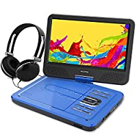 WONNIE 10.5�?� Portable DVD Player with 270° Swivel Screen Built-in Rechargeable Battery SD Card and USB, Direct Play in Formats AVI/MP3/JPEG/RMVB (10.5, Blue)