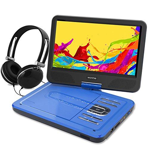 """WONNIE 10.5"""" Tragbarer DVD-Player, Schwenkbaren Bildschirm, HD Display 4-5 Stunden Akku, USB / SD Slot Mit Kopfhörer, Perfekte Geschenke für Kinder (Blau)"""