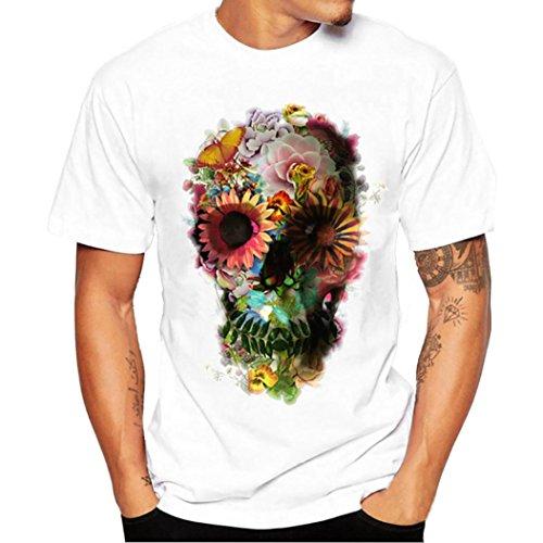 Mode Bedrucktes T-Shirt Herren, DoraMe Männer Junge Tees Shirt Große Größe Kurzarm Bluse Baumwolle Sommer Frühling O Hals Hemd (C - Weiß, Asien Größe 2XL) (Kurzarm-shorts Lacoste)