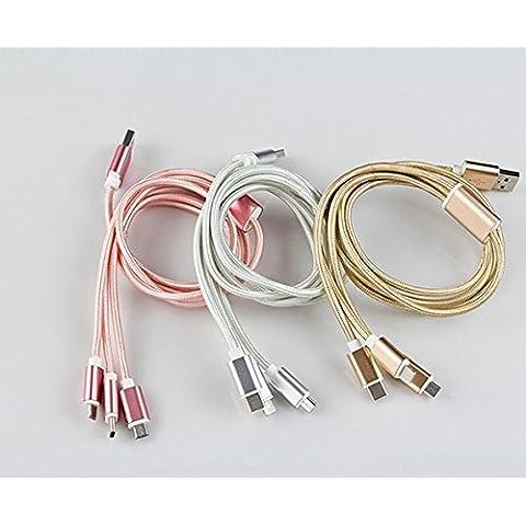 3 in 1, 1,2 m Cavo dati USB per Nylon libera dipositivos IOS, Android,-Type c