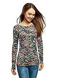 oodji Collection Damen Langarmshirt aus Baumwolle, Mehrfarbig, DE 42 / EU 44 / XL