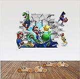 3D Super Mario Bros Desmontable Pegatinas de pared Calcomanía Decoración para el hogar para niños