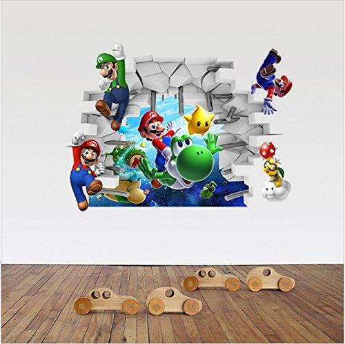 3d super mario bros removibile adesivi murali decalcomania decorazioni per la casa per bambini