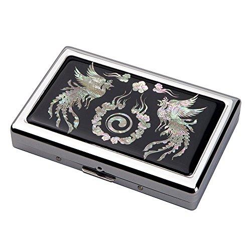 Etui Compact Elegant Design de Nacre Corée Symbole Paix DOUBLE PHOENIX Intérieur Métallique pour 16 Cigarettes 100s/King Size ou Porte Billet 5/10 euros
