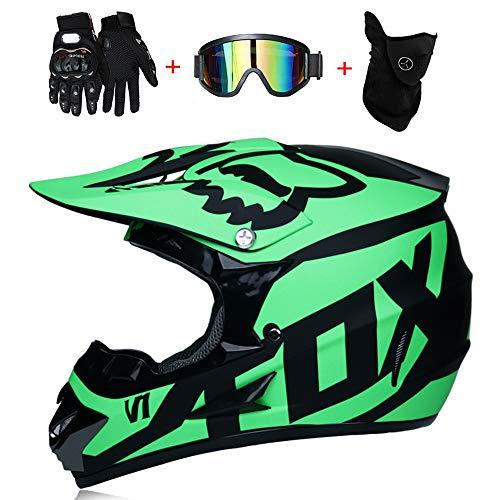 Casco da Motocross Adulto MX Casco da Moto Casco ATV Casco da Corsa su Strada D.O.T Certificato Fox Green con Guanti Maschera Antivento (S, M, L, XL),M57~58CM