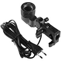 WON Photography Photo Light Lamp Bulb Single Holder E27 Socket Bracket Studio EU Plug,Black