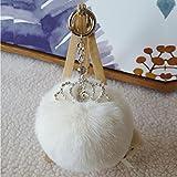 Artistic9(TM Damen Kaninchen Pelz Ball Tasche Plüsch Auto Schlüsselanhänger Key Ring KFZ Schlüssel Anhänger mit Krone, weiß, 7cm