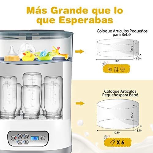 OMORC Esterilizador de Biberones, 5 en 1 desinfecta/seca hasta 6 biberones o chupetes, productos para bebés, Calienta Biberones
