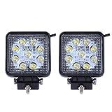 SAILUN Arbeitslicht 27W LED Offroad Flutlicht Spotlight Reflektor Scheinwerfer Arbeitsscheinwerfer 1755LM Schwarz Aluminium Druckguss IP67 2 Stück (Quadrat)