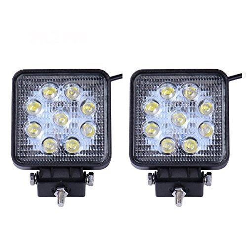 Fete Natürlichen (SAILUN Arbeitslicht 27W LED Offroad Flutlicht Spotlight Reflektor Scheinwerfer Arbeitsscheinwerfer 1755LM Schwarz Aluminium Druckguss IP67 2 Stück (Quadrat))