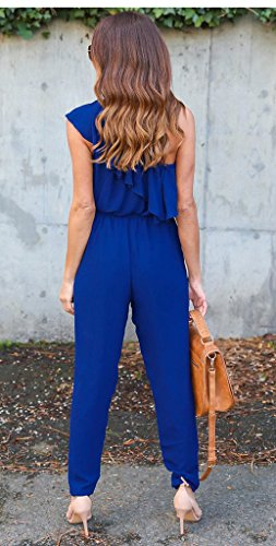 Smile YKK Combinaison Epaule Nue Femme Mousseline de Soie Jumpduit Pantalon Soirée Elégant Bleu