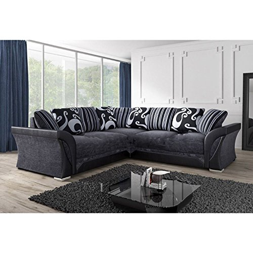 NEW FARROW LEATHER U0026 CHENILLE FABRIC CORNER SOFA IN BLACK U0026 GREY