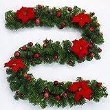 2.7m Weihnachtsgirlande mit künstlichem Kranz der Lichter batteriebetriebenen Poinsettias mit der Weihnachtsballverzierung zuhause im Freien für die geläufige Kaminsimstreppentür - rot