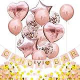 Oblique Unique® Candybar Set de décoration pour fête d'anniversaire ou de fête - Guirlande Candybar + Film de confettis Ballon Gonflable + 1000 pièces Papier confettis Or Rose Blanc Champagne