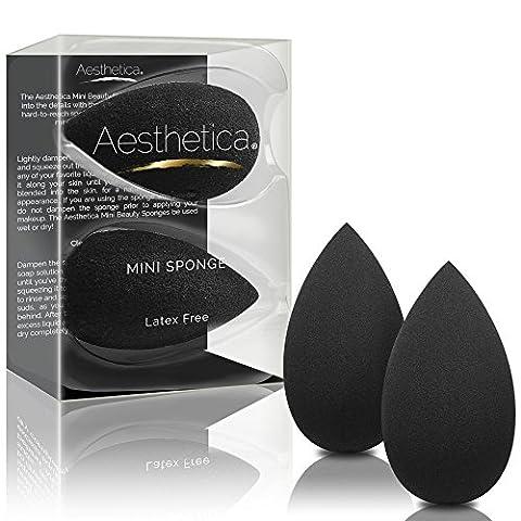 Lot de deux mini-éponges à maquillage Aesthetica style œuf - L'accessoire idéal pour maquiller les petites zones autour des yeux, des lèvres et des sourcils - Ne contient pas de latex