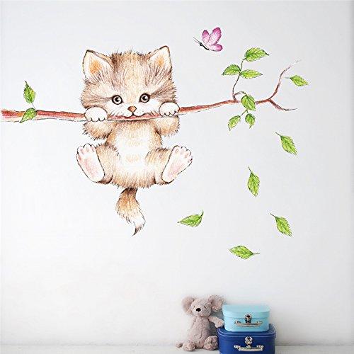Pegatina pared puerta vinilo decorativo gatito en apuros para cuartos bebes niños juegos guarderias colegios de CHIPYHOME